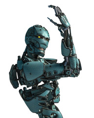cyborg robot in a mission