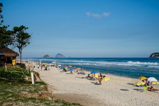 Barra da Tijuca beach on a beatiful afternoon, with Tijucas Islands in the background. Rio de Janeiro