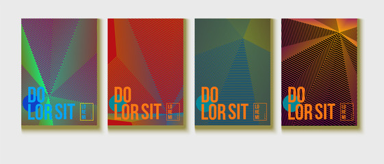 Neon Halftone Covers Set. Trendy Blend Lines Corporate Identity. Futuristic Posters, Geometric Business Backgrounds. Halftone Minimal Presentation Covers. Neon Colored Iridescent Print Design.