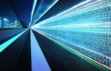 Tunnel road with binary code numbers on motion blurred asphalt road , speed and faster digital matrix technology information concept .