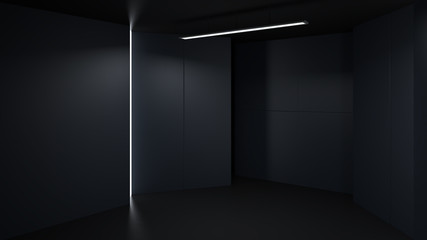 3D rendering minimalist and modern design studio room space background, low key lighting .