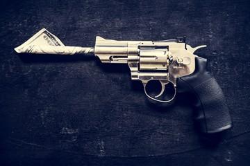 Gun on black background