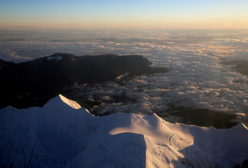 An aerial view of the Andres mountains near La Paz