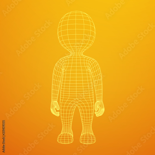 Wireframe low poly mesh human cartoon body in virtual