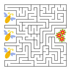 A square labyrinth. What a bee will fly to the flower. Simple flat isolated vector illustration. With the answer.