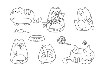 Vector image with funny hand drawn cats. Animals vector illustration with adorable white kitties.