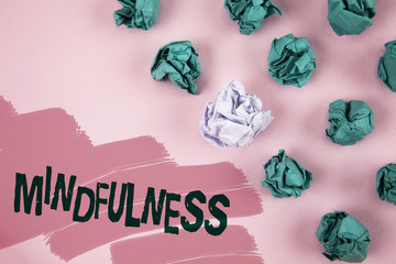 Handwriting text Mindfulness. Concept meaning Being Conscious Awareness Calm Accept thoughts and feelings written on Painted Pink background Crumpled Paper Balls next to it.