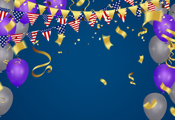 4th of July American Independence Day decorations on blue background