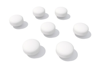 white pill isolated on white background.