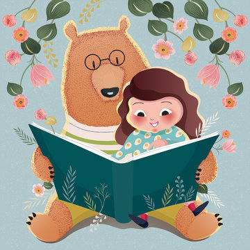 Vector illustration of a cute girl and a big bear reading a book with floral background for thank you card and birthday card.