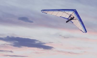 Vintage photo of Hang Glider at sunset