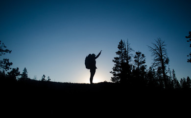 Girl Standing on Rock Night Sky Forest Silhouette
