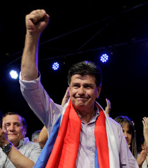Paraguayan presidential candidate Efrain Alegre of the GANAR coalition attends a campaign rally in Capiata