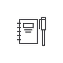 Spiral notebook and pen outline icon. linear style sign for mobile concept and web design. Binder with pencil simple line vector icon. Symbol, logo illustration. Pixel perfect vector graphics