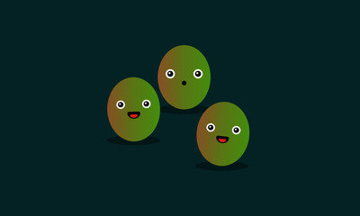 Jujube Fruit Vector Illustration with Smiling Faces