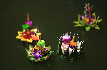 Loy Krathong festival, Flowers and candle to light and float on water to celebrate the festival in Bangkok, Thailand.