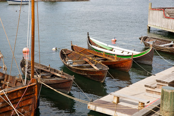 Boats in small harbor