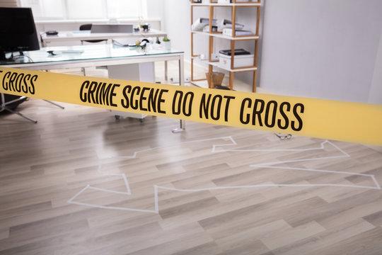 Chalk Outline Of Murdered Victim