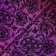pink and purple paper with black floral lace design.