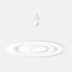 Water drip on splash water on white background.