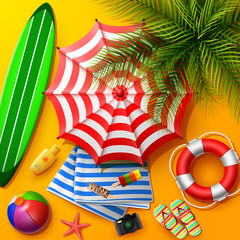 Summer holidays background in the yellow beach sand. Top view of beach element collections
