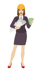 Businesswoman in construction helmet with cash money holding the project plans