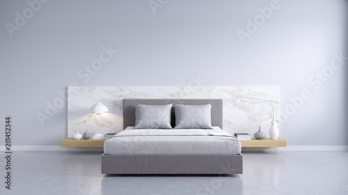 Bedroom And Modern Loft Style.,Cozy White And Gray Room Minimalist Concept  ,bed