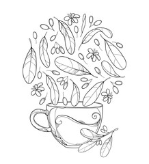 Vector cup of Cocaine plant or Erythroxylum coca herbal tea. Ornate outline leaf, fruit and flower in black isolated on white background. Contour Coca plant for summer design and coloring book.