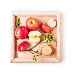 Apples on tray.