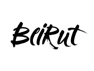 Beirut Capital city typography lettering design. Hand drawn brush calligraphy, text for greeting card, t-shirt, post card, poster. Isolated vector