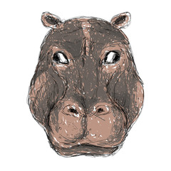 Hand-drawing animal head vector logo icon illustration