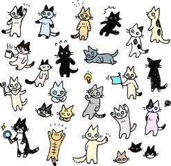 猫の手書きイラストセット