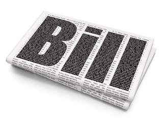 Money concept: Pixelated black text Bill on Newspaper background, 3D rendering