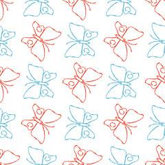 Color pencil sketch butterflies seamless pattern