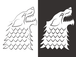 Heraldic style wolf head design. Line and silhouette wolf