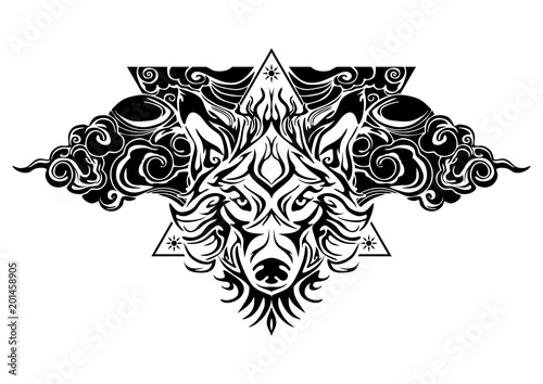 Tribal wolf head tattoo decorate with oriental cloud and geometric Mesmerizing Decorate Design