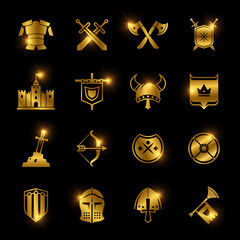 Medieval warriors shield and sword vector icons