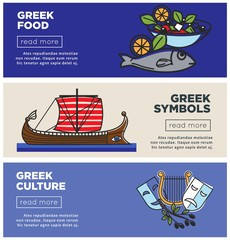 Greek food, traditional culture and national symbols Internet banners