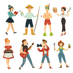 People hobby or profession vector characters