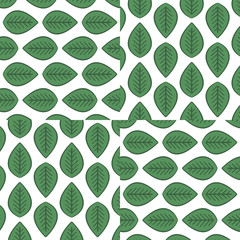 Green leaves pattern. Seamless floral texture. Design element, spring, summer, vector