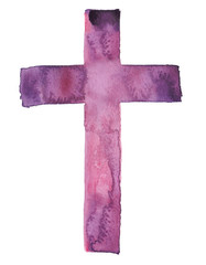 Simple traditional Christian cross painted in watercolor on clean white background