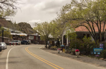 Street scene in Madrid, New Mexico. Historic Turquoise Trail and Route 66, scenic byway between Santa Fe and Albuquerque, NM.