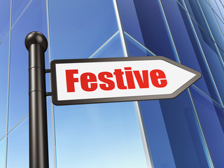 Holiday concept: sign Festive on Building background, 3D rendering