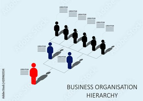 Minimalist Company Organization Hierarchy 3d Chart Template Stock