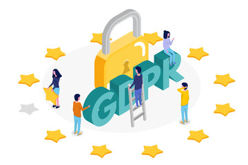 General Data Protection Regulation - GDPR isometric concept. Vector illustration.