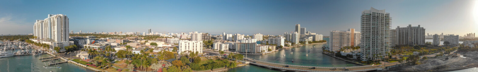 Panoramic aerial view of Miami Beach and Venetian Way on a beautiful afternoon