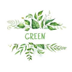 Floral greenery card design. Wedding invitation poster. Watercolor hand drawn art illustration