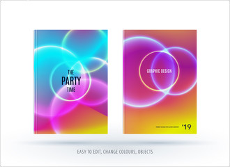 Abstract colourful poster graphic design of brochure in fluid liquid style with blurred smooth background.