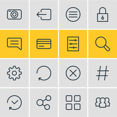 Vector illustration of 16 annex icons line style. Editable set of padlock, thumbnails, hashtag and other icon elements.