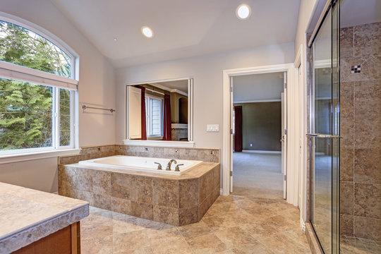 Stunning master bathroom with luxury spa tub.